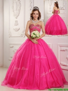 Discount Hot Pink A Line Sweetheart Floor Length Quinceanera Dresses