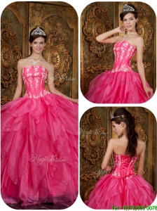 Discount Hot Pink Quinceanera Dresses  with Appliques and Ruffles