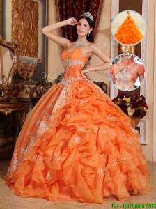 Discount Orange Red Ball Gown Quinceanera Dresses with Beading