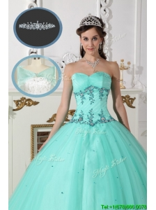 Discount  Green Sweetheart Quinceanera Dresses with Beading