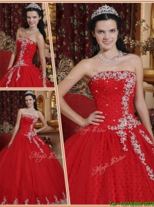 Discount  Red Ball Gown Strapless Quinceanera Dresses