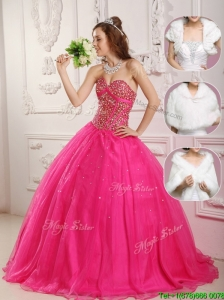 Popular  A Line Hot Pink Quinceanera Dresses  with Beading