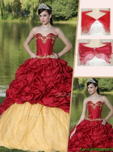Popular Appliques and Pick Ups Quinceanera Dresses  with Brush Train