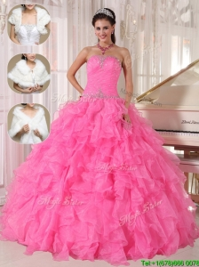 Popular Ball Gown Strapless Quinceanera Dresses in Hot Pink