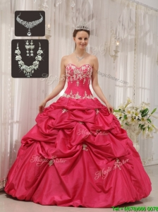 Popular Beading Sweetheart Quinceanera Dresses  in Hot Pink