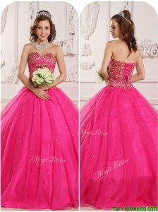 Puffy A Line Beading Quinceanera Dresses in Hot Pink