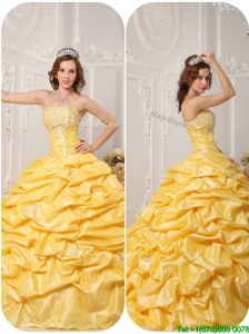 Puffy Ball Gown Pick Ups and Appliques Quinceanera Dresses