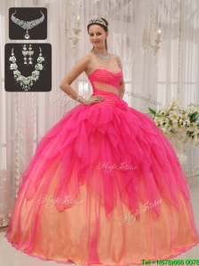 Puffy Ball Gown Strapless Quinceanera Dresses with Beading