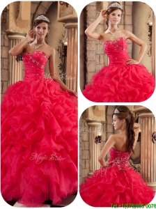 Puffy  Coral Red Ball Gown Floor Length Ruffles Quinceanera Dresses