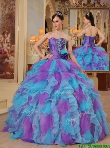 Puffy  Multi Color Ball Gown Sweetheart Quinceanera Dresses