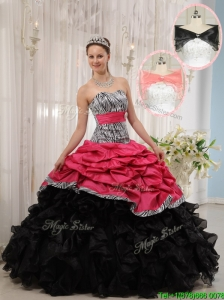 Puffy Red and Black Sweetheart Quinceanera Dresses in Zebra