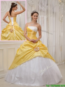 Puffy Selling Yellow Ball Gown Strapless Quinceanera Dresses