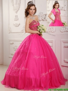 Best Selling A Line Floor Length  Sweet 16 Dresses  in Hot Pink