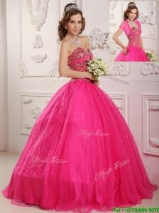 Best Selling A Line Floor Length  Sweet 16 Dresses  in Hot Pink
