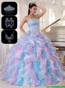 Cheap Ruffles and Appliques Sweet 16 Dresses  in Multi Color