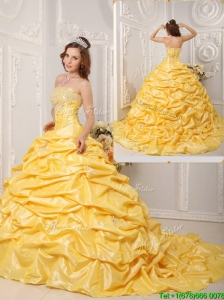Elegant Ball Gown Court Train Appliques and Beading Sweet 16 Dresses