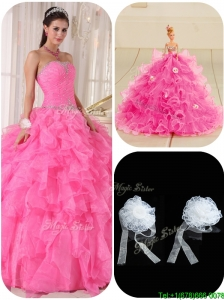 Exquisite Ball Gown Hot Pink Sweet 16 Dresses  with Beading