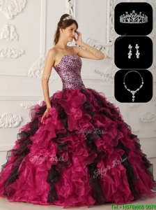 Exquisite Organza Ruffles Sweet 16 Dresses in Multi Color