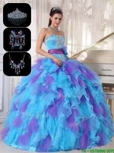 Gorgeous Multi Color Sweet 16 Dresses  with Beading and Appliques