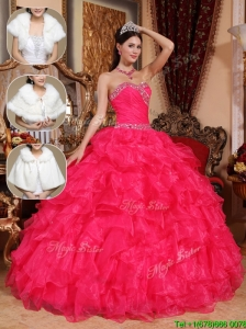 New Style Beading Sweetheart Sweet 16 Dresses  in Coral Red