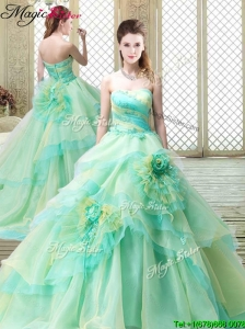 New Strapless Brush Train Quinceanera Dresses with Hand Made Flowers