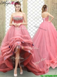 Popular Strapless High Low Beading Prom Dresses