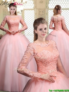 Pretty Bateau Long Sleeves Beading and Appliques Quinceanera Dresses