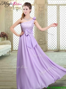 2016 Spring High Neck Lace Lavender Elegant Bridesmaid Dresses