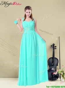 Beautiful Straps Bridesmaid Dresses in Apple Green