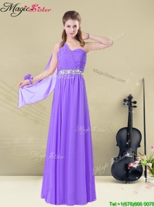 BMT008-5AFSweet One Shoulder Floor Length  Bridesmaid Dresses with Belt