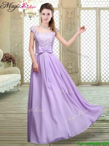 Fashionable Square Cap Sleeves Lavender Prom Dresses with Belt