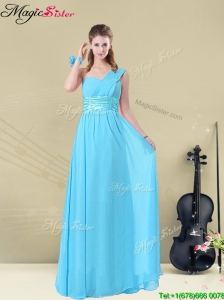 Latest Floor-length One Shoulder  Prom Dresses with Belt
