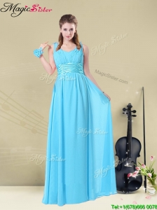 Wonderful Straps Empire Elegant Bridesmaid Dresses with Ruching and Belt