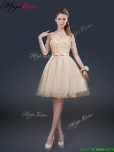 Cheap Strapless Modest Prom Dresses with Appliques and Belt