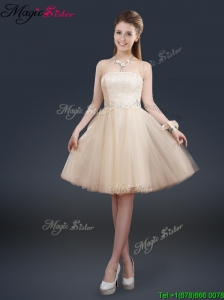 Fashionable Strapless Lace Champagne Modest Prom Dresses