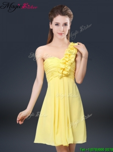 Sweet Short One Shoulder Ruching Elegant Bridesmaid Dresses