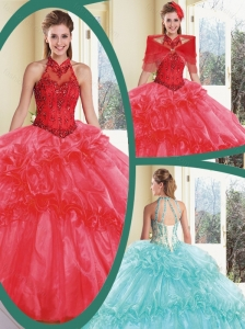Cheap Appliques and Ruffles Quinceanera Gowns with Halter Top