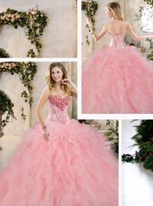 Classical Beading and Ruffles Sweet 16 Dresses in Multi Color