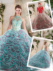 Hot Sale Appliques and Ruffles Quinceanera Dresses with Halter Top