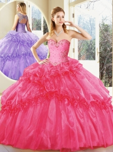 2016 Beautiful Hot Pink Quinceanera Dresses with Beading