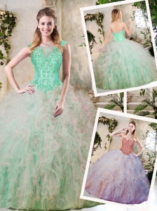 2016 Elegant Sweetheart Quinceanera Dresses with Appliques and Ruffles