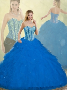 2016 Fall Elegant Detachable Quinceanera Dresses with Ruffles and Beading