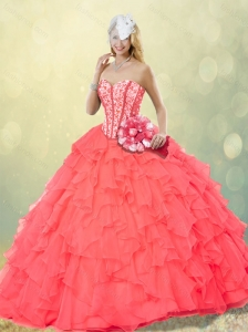 2016 Hot Sale Coral Red Quinceanera Gowns with Beading and Ruffles for Fall