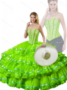 2016 Hot Sale Spring Green Detachable Quinceanera Dresses with Beading and Ruffled Layers