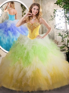 2016 Luxurious Sweetheart Quinceanera Dresses with Beading and Ruffles