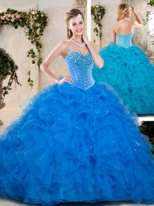 2016 Popular Beading and Ruffles Quinceanera Dresses in Blue