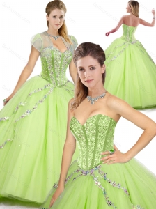 2016 Spring Beautiful Sweetheart Beading Quinceanera Dresses in Yellow Green