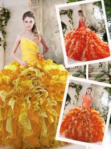 Beautiful Beading and Ruffles Quinceanera Dresses in Multi Color