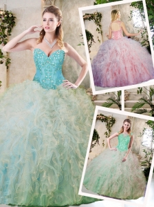 Cute Multi Color Quinceanera Gowns with Appliques and Ruffles