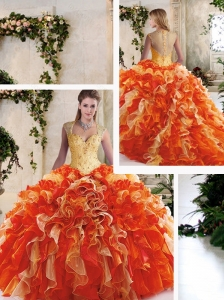 Cute Multi Color Quinceanera Gowns with Beading and Ruffles